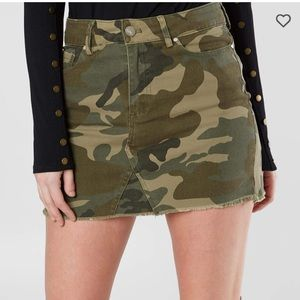 Kendall & Kylie Frayed Hem Camo Denim Mini Skirt